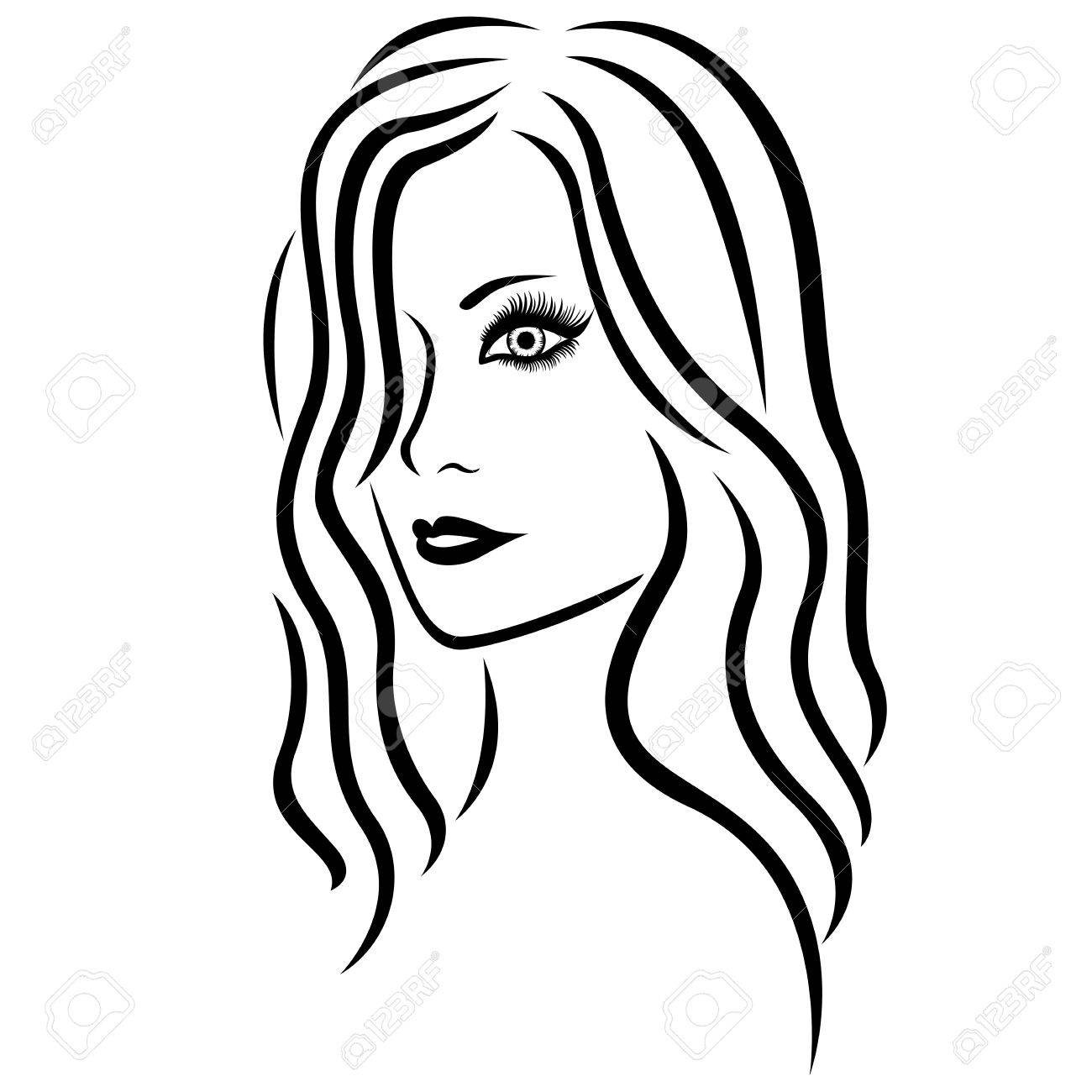 1300x1300 Abstract Young Beautiful Women Head With Long Wavy Hair, Hand