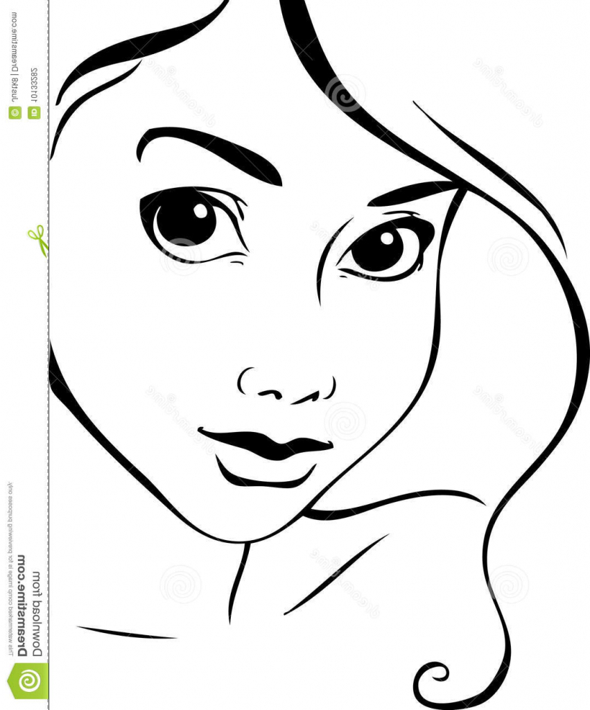 851x1024 Woman Face Drawing Outline Female Face Sketch Royalty Free Stock