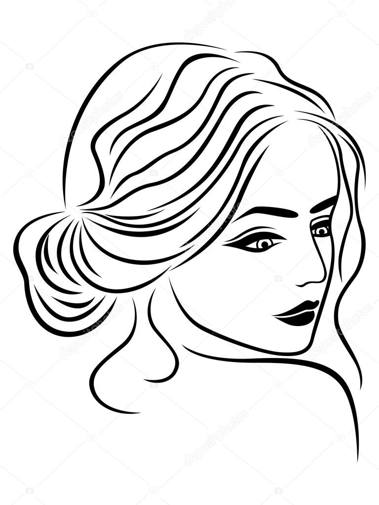 768x1024 Abstract Female Head Outline Stock Vector Natreal