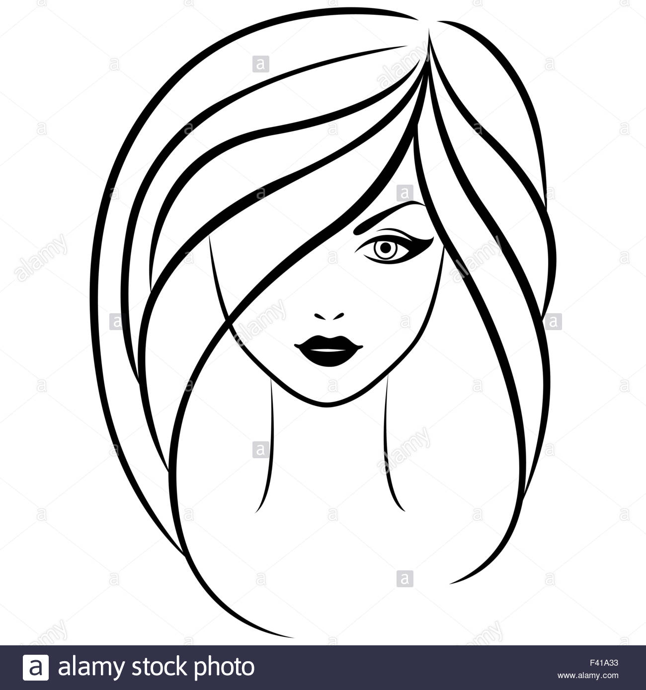 1300x1390 Abstract Vector Outline Portrait Of Young Beautiful Girl With Long