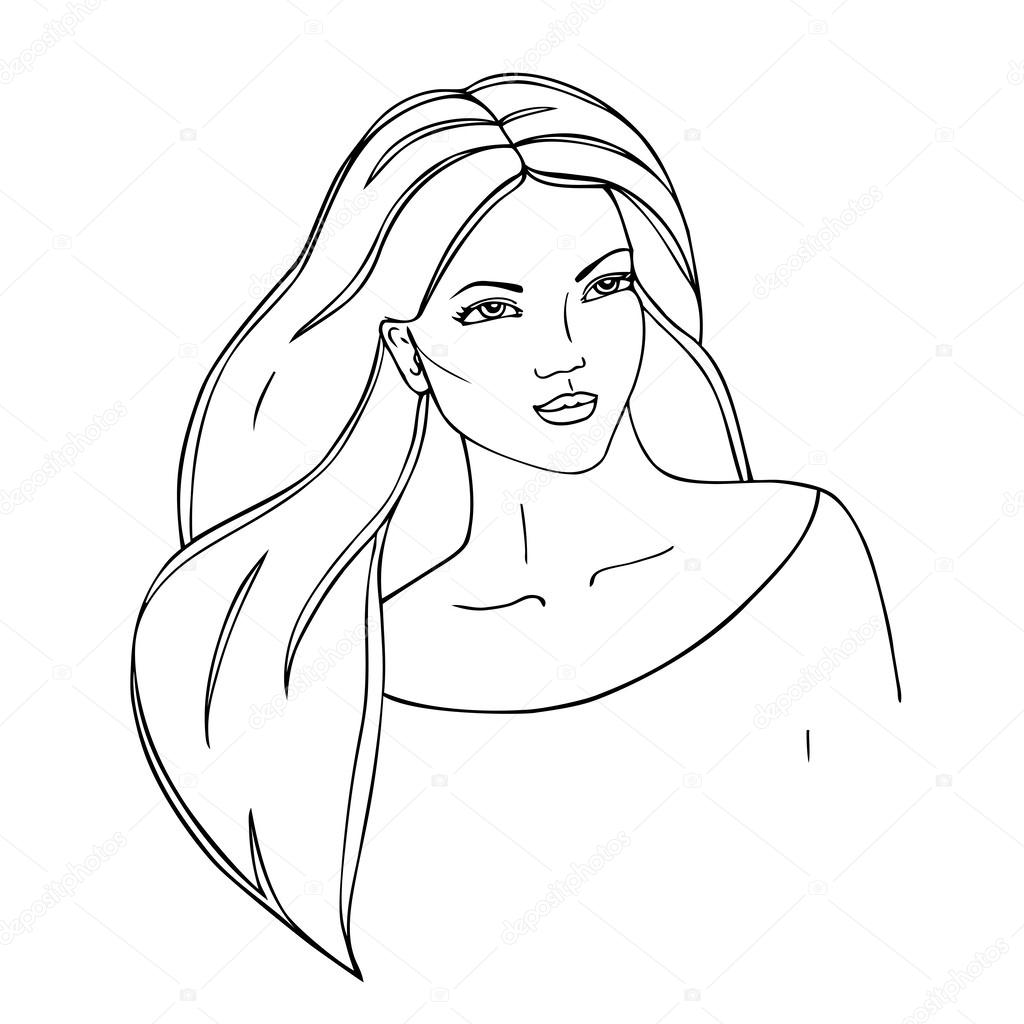 1024x1024 Beautiful Woman Face. Black Contour. Hand Drawn Outline. Stock