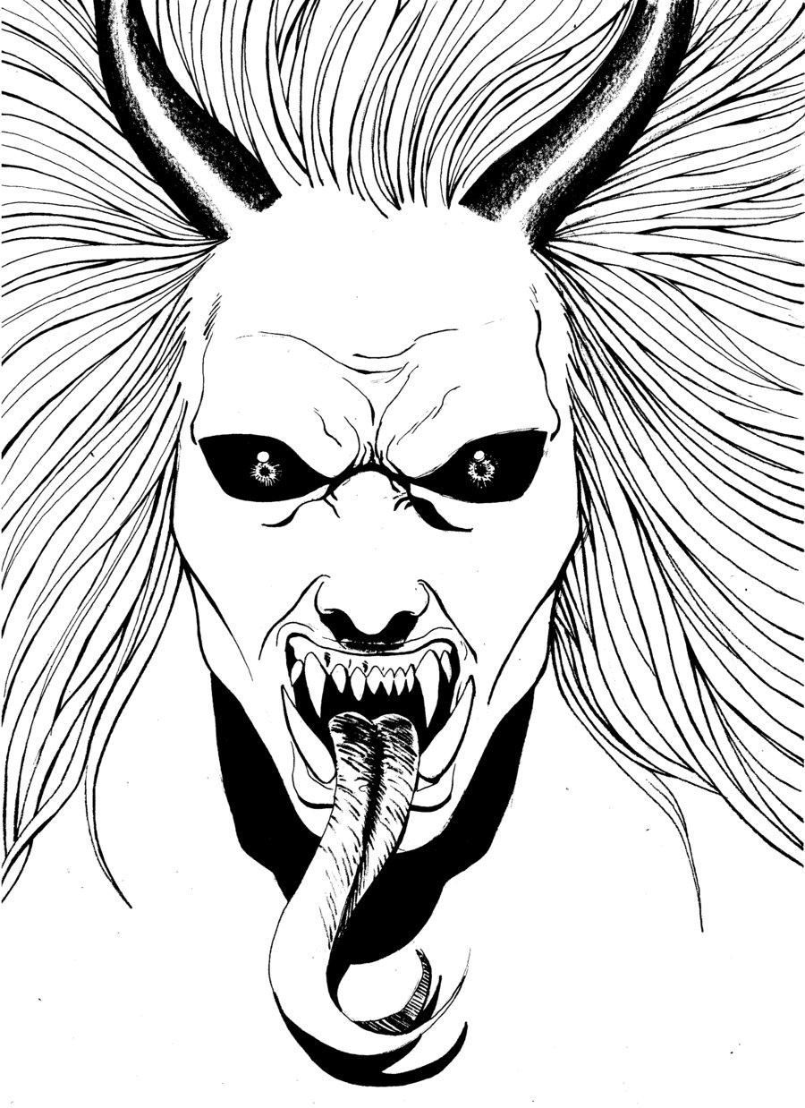 900x1238 Demon Face Drawings Horror Faces Drawings