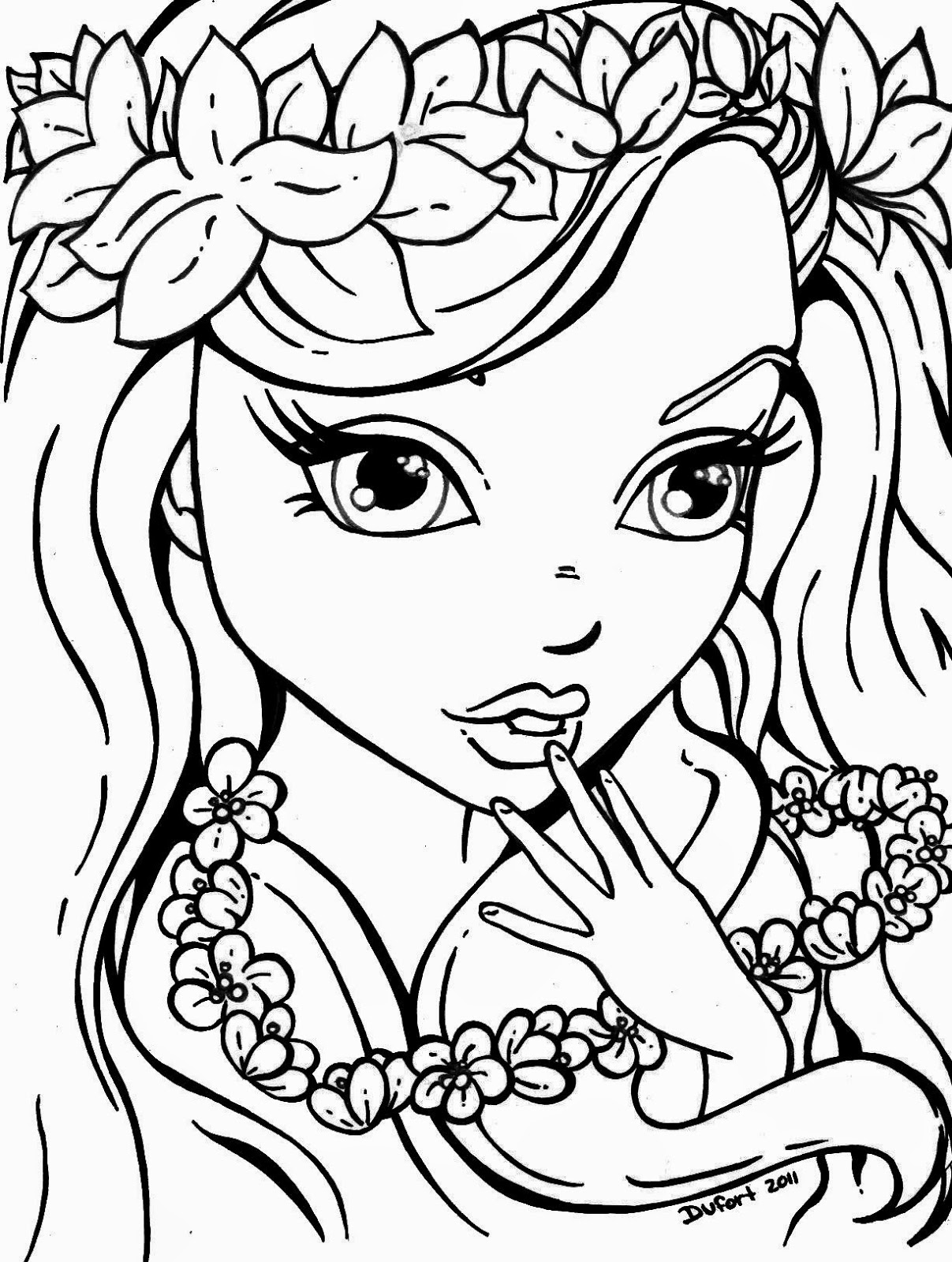 1207x1600 Girl Face Coloring Page 450379