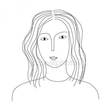 450x450 Makeup Sketch Template, Beauty Face Girl. Vector Illustration