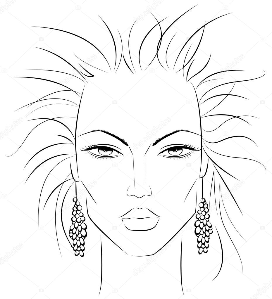 Female Face Drawing Template at GetDrawings.com | Free for ...