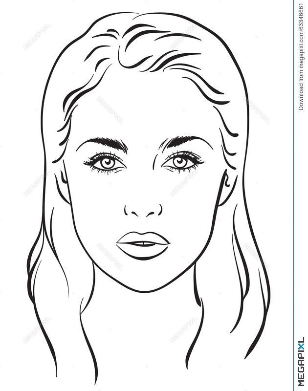 630x800 Beautiful Woman Portrait. Face Chart. Vector Illustration