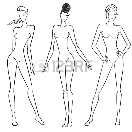450x450 The Sketch Of Women In Different Poses Royalty Free Cliparts