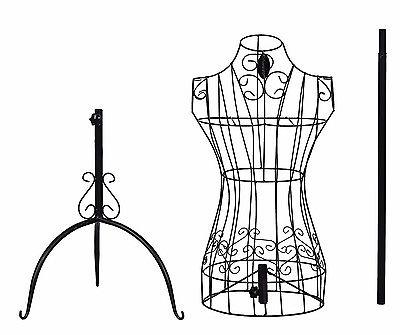 400x335 Vintage Metal Female Mannequin Black Iron Torso Store Display