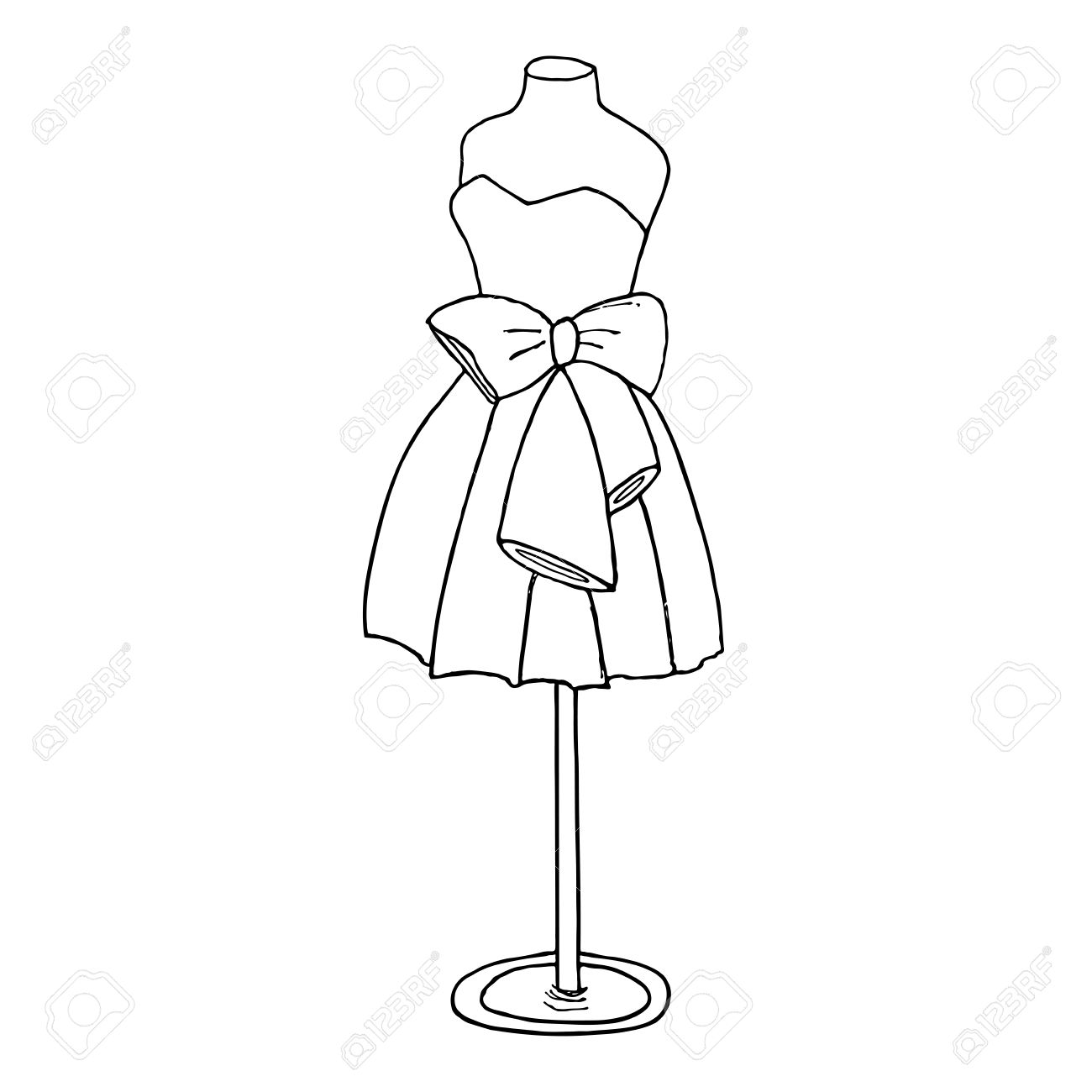 1300x1300 Cocktail Dress With A Bow. Ball Gown Short Mannequin Hand Drawing
