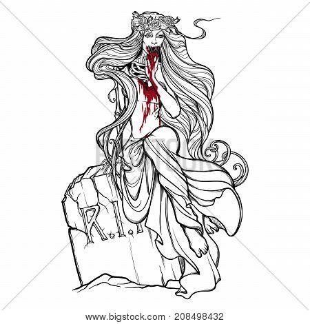 450x470 Dead Bride. Zombie Girl Sewn Mouth Vector Amp Photo Bigstock