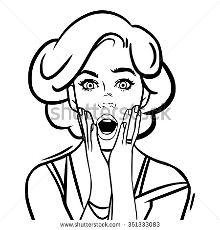 450x470 Vector Illustration. Pop Art Surprised Woman Face With Open Mouth
