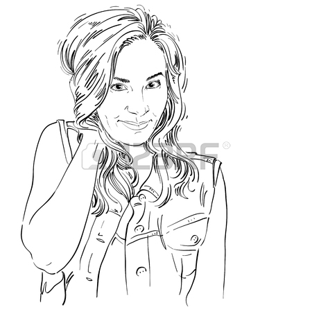 450x450 Vector Art Drawing, Portrait Of Gorgeous Flirting Girl Isolated