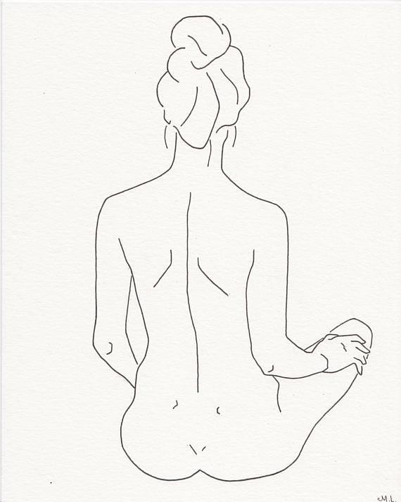 570x712 Minimalistic Line Drawing. Woman Silhouette Woman Back. Black
