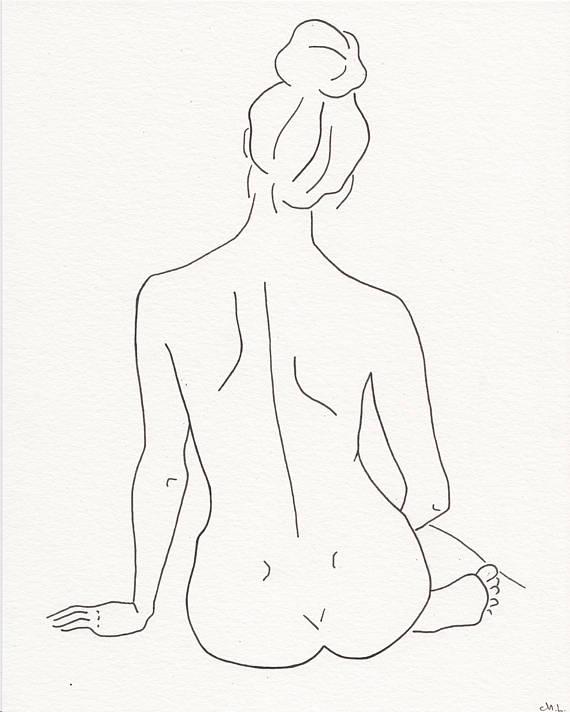 570x712 Simple Woman Silhouette Art. Minimalistic Line Drawing Woman