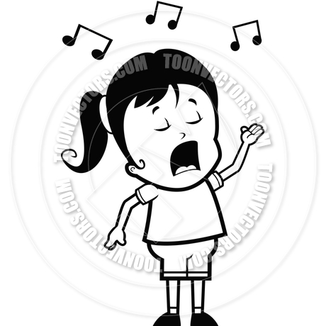 460x460 Girl Singing (Black And White Line Art) By Cory Thoman Toon