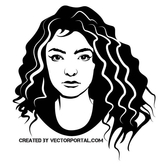 660x660 Girl With Swirl Hair Vector Drawing. Girls And Women Free