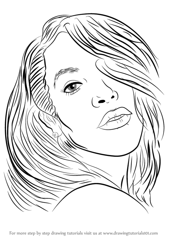 566x800 Learn How To Draw Aaliyah (Singers) Step By Step Drawing Tutorials