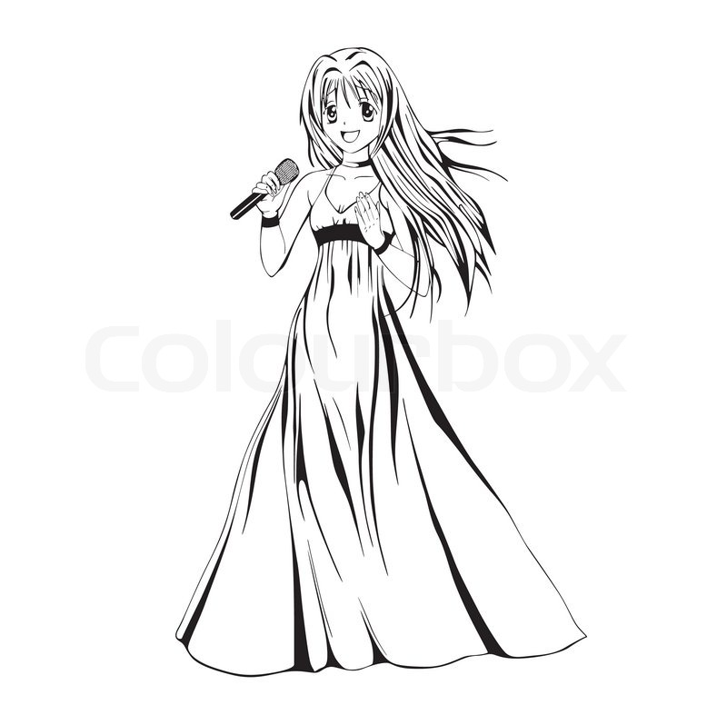800x787 Anime Girl Singer Stock Vector Colourbox