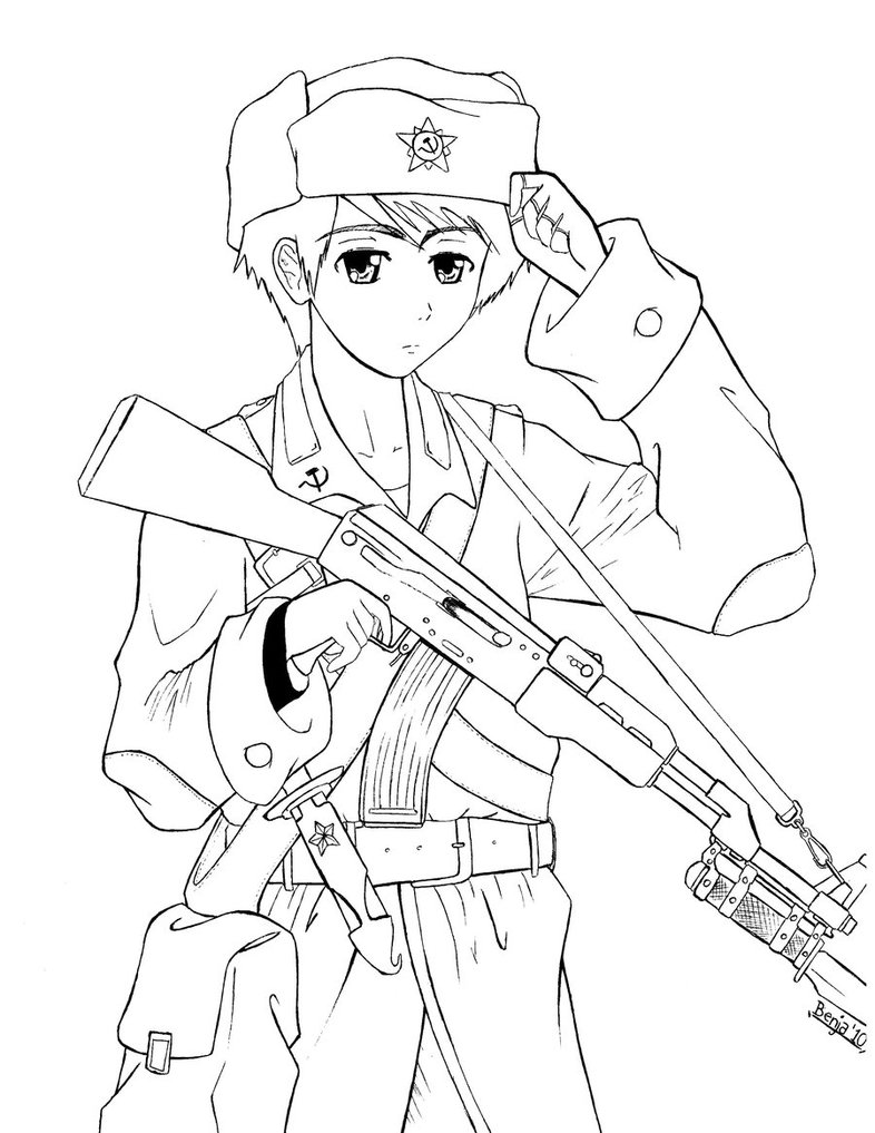 Female Soldier Drawing