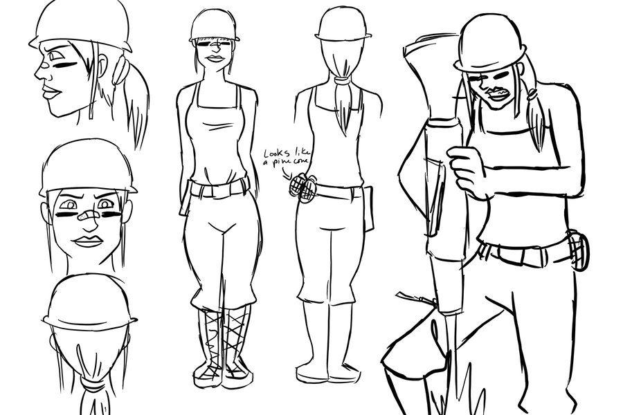 900x600 Female Soldier Sketch By Py Bun