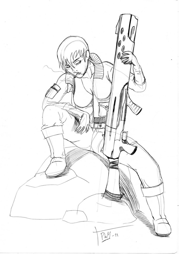 752x1063 Female Soldier By Instangir