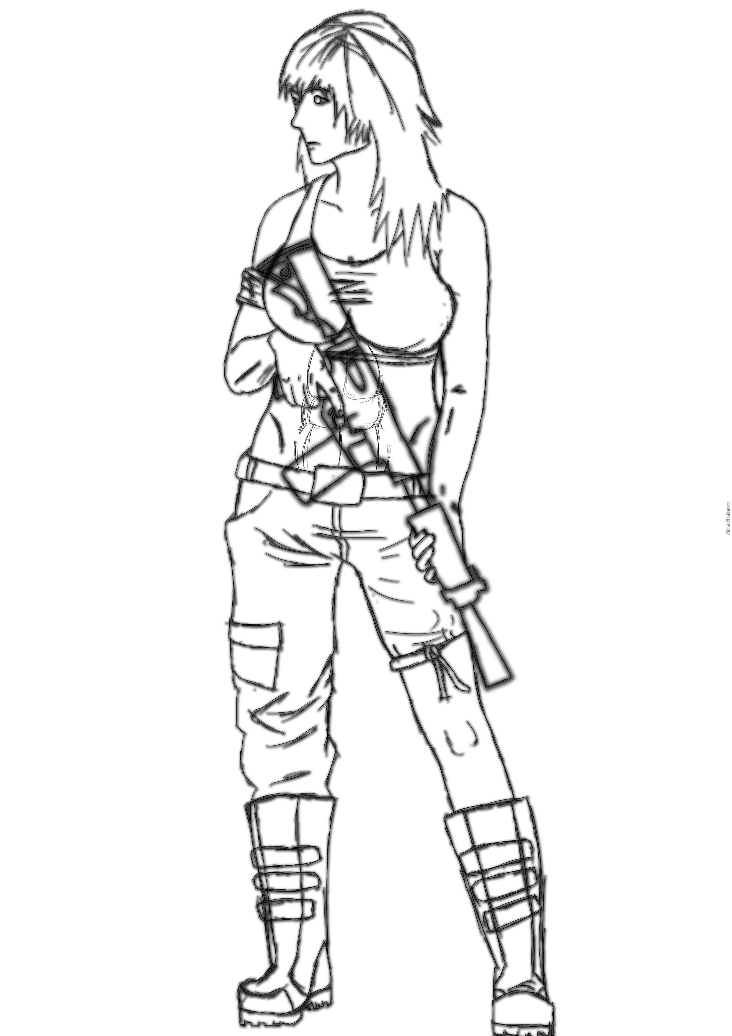 2480x3508 Girl Soldier Detailed Sketch By Hytsukaia