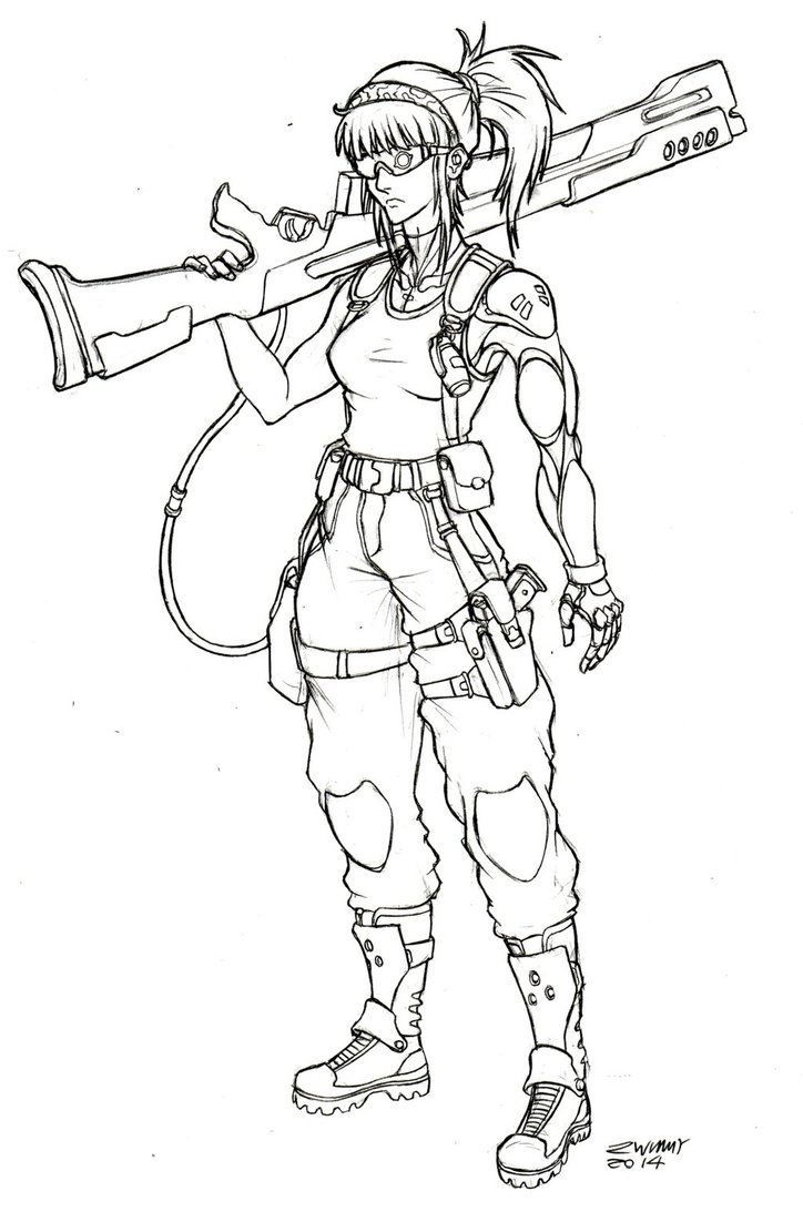 724x1102 Anime Female Soldier Drawings Anime Weapon Drawings