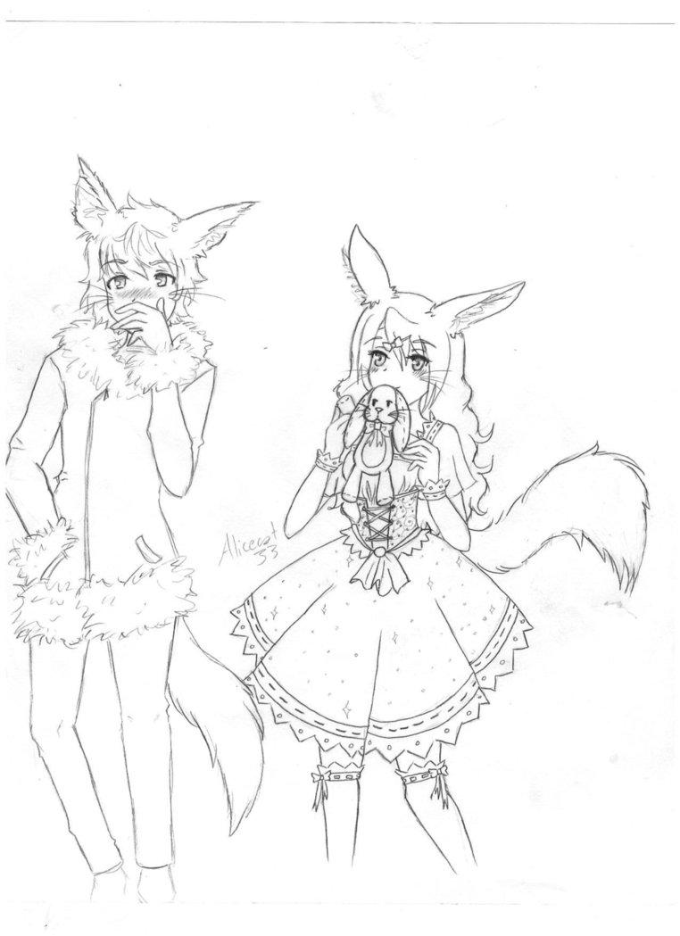 762x1049 Fennec Fox Girl And Snow Fox Guy By Little Fennec Fox