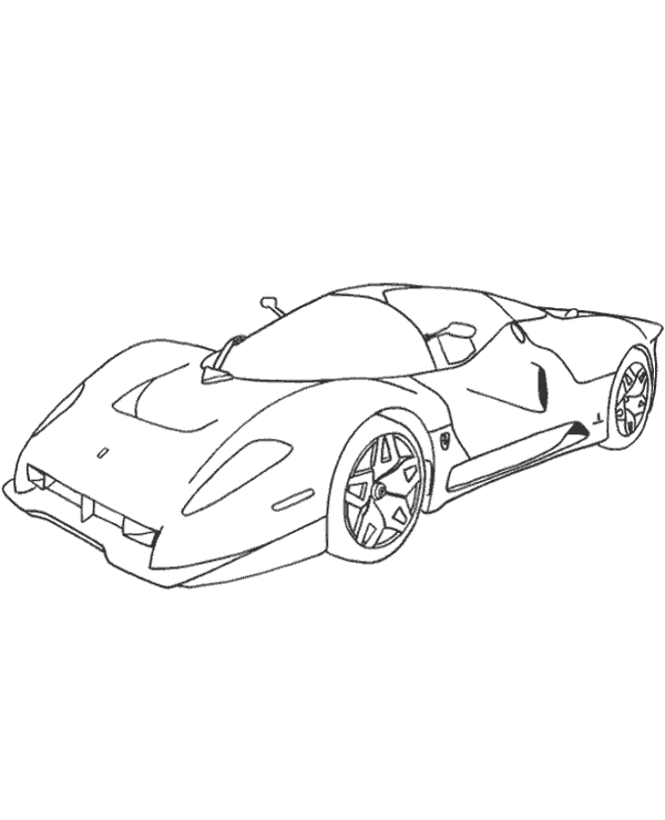 600x740 Ferrari Racing Car Coloring Page To Print Or Download For Free