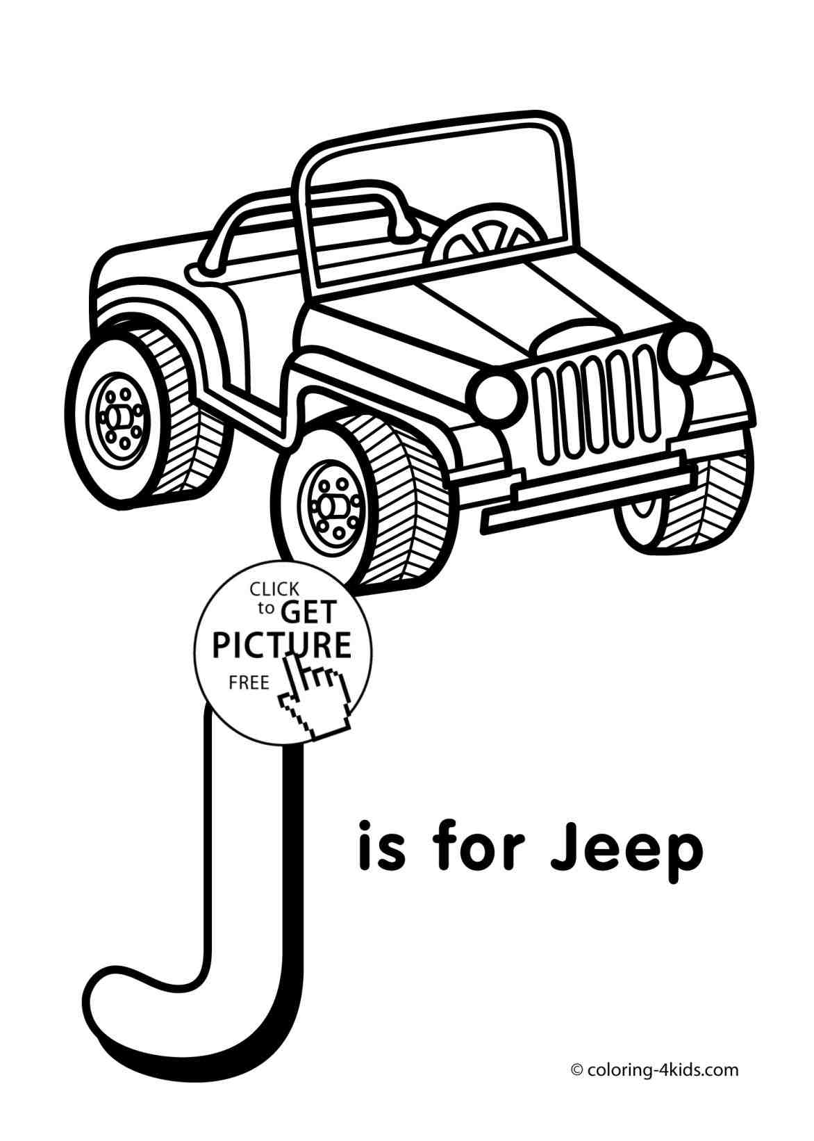 1172x1642 Jeep Drawing Easy J Coloring Pages Of Alphabet Words For Kids How