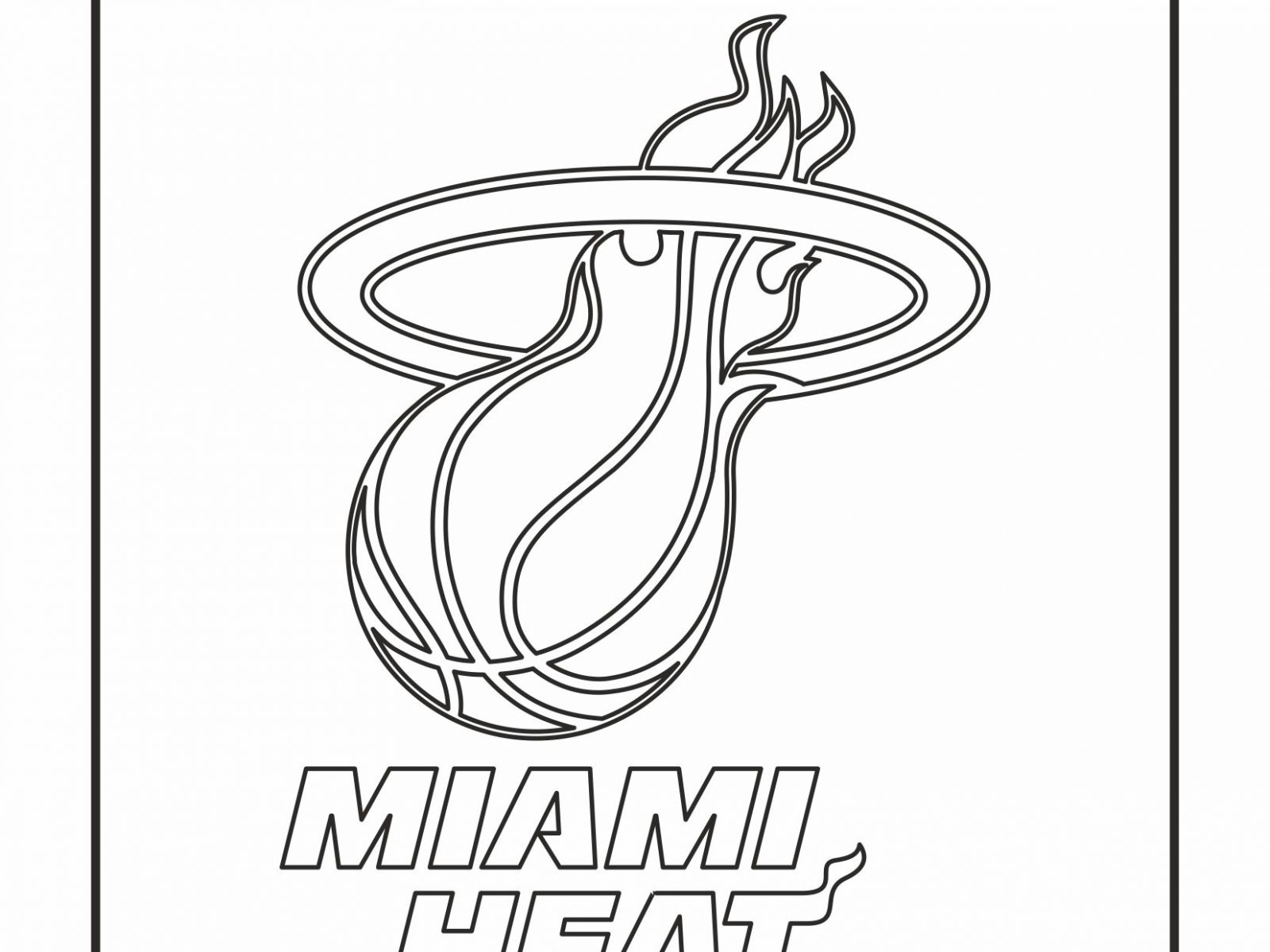 1600x1200 Awesome Miami Heat Logo Coloring Page With Hawkeye And Nba Pages