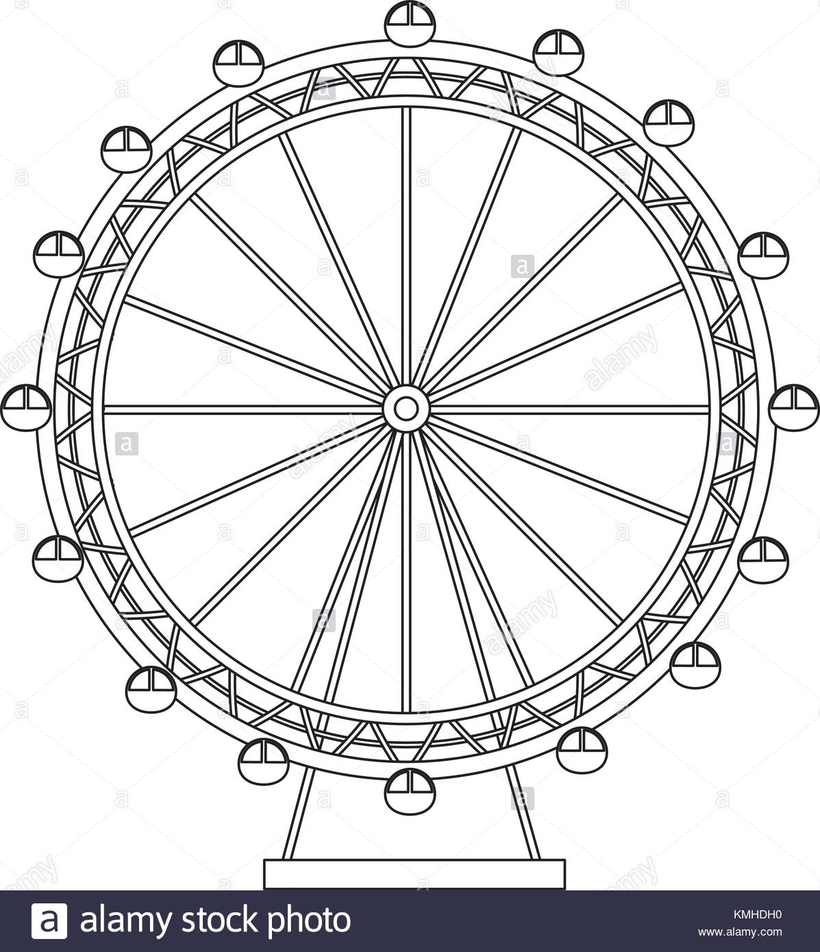 1197x1390 Ferris Wheel Recreation Adventure Landmark Stock Vector Art