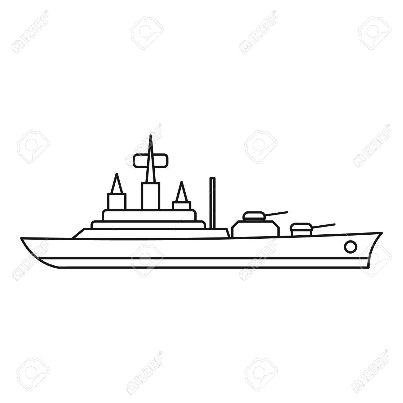 1300x1300 Warship Icon. Outline Illustration Of Warship Vector Icon
