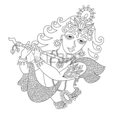 450x450 Drawing Of God Lord Krishna For Janmashtami Festival, Vector
