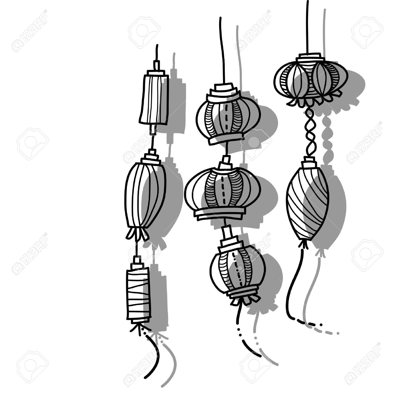1300x1300 Hand Drawing Lantern Festival Royalty Free Cliparts, Vectors,