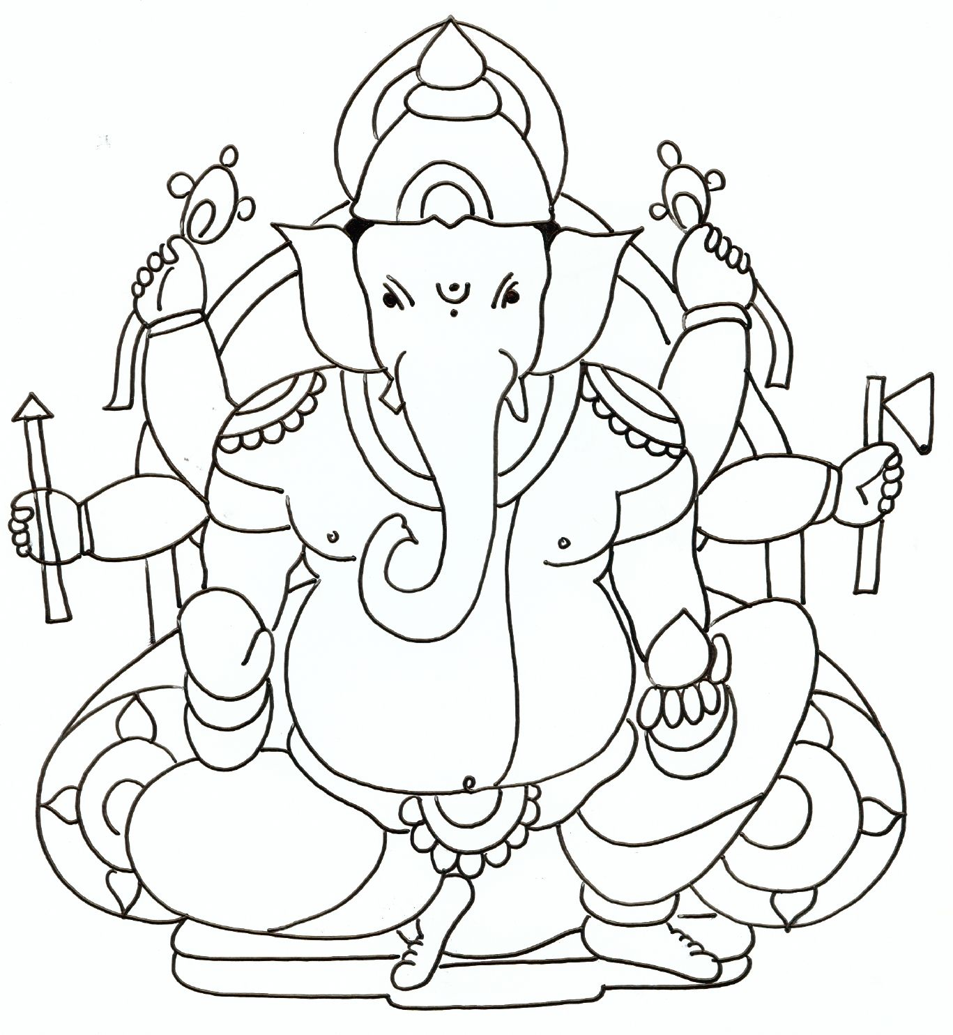1367x1484 Ganesh Drawings For Kids Festivals Pencil Art