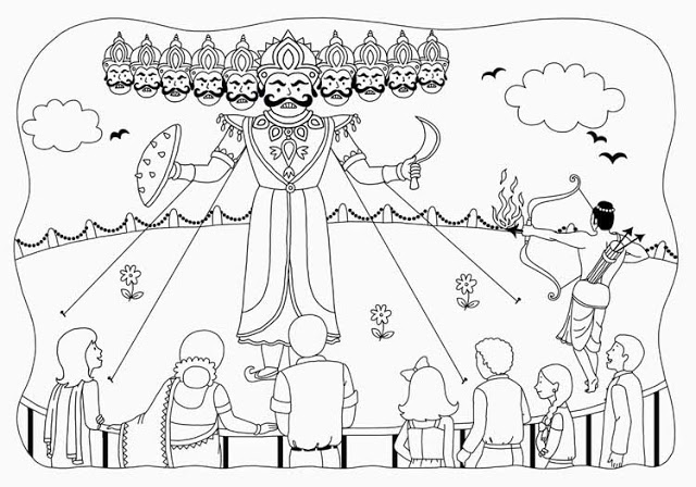 640x448 Dussehra Sketches For Kids