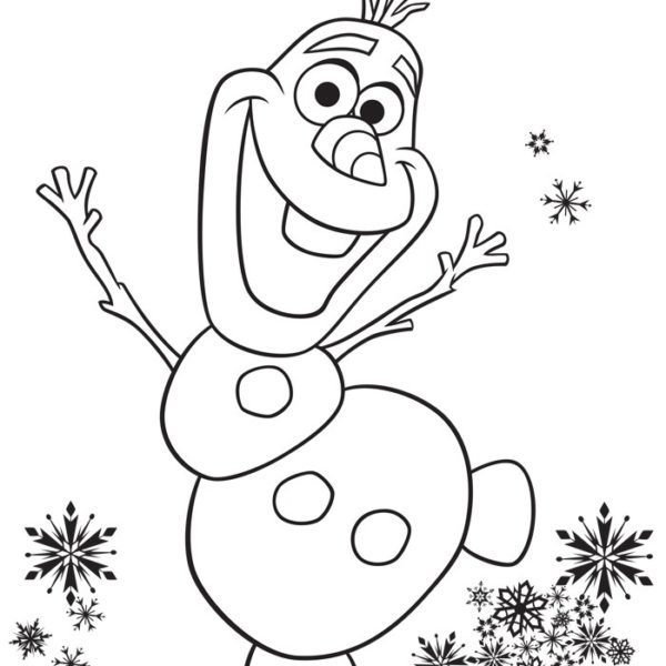 600x600 Frozen Fever Olaf Excited Birthday Party Coloring Page