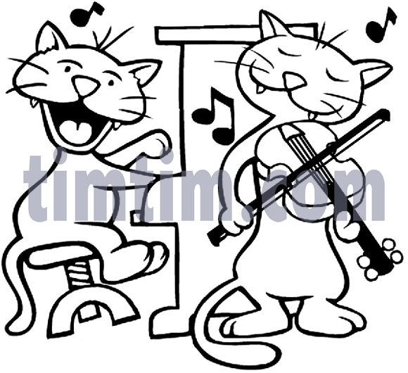 Free Drawing Of Cat Fiddle Bw From The Category Music