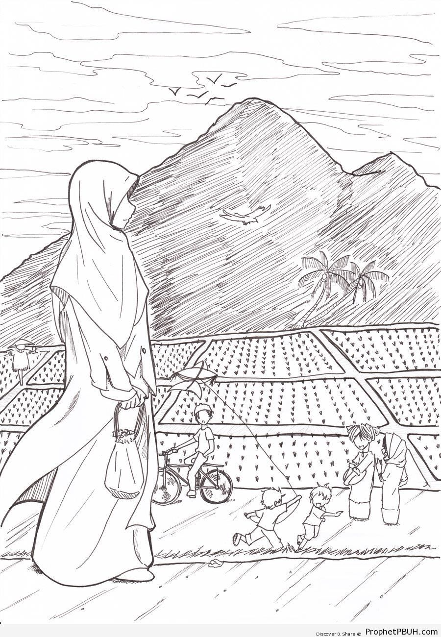 900x1300 Anime Muslimah Walking By Mountains And Fields Drawings