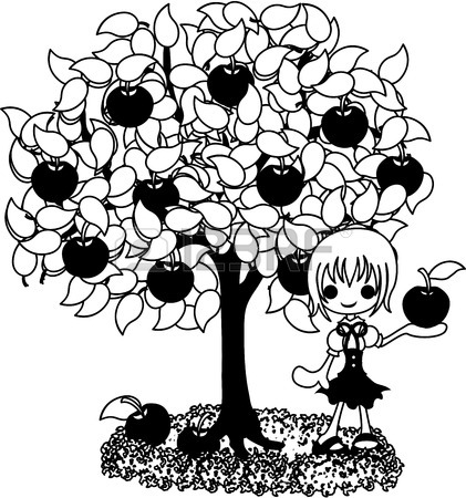 421x450 A Girl Who Rests Still Under The Fig Tree. Royalty Free Cliparts