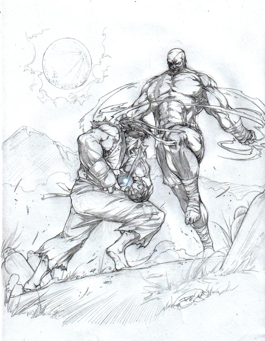 845x1087 Ryu Vs Sagat Night Fight By Caananwhite