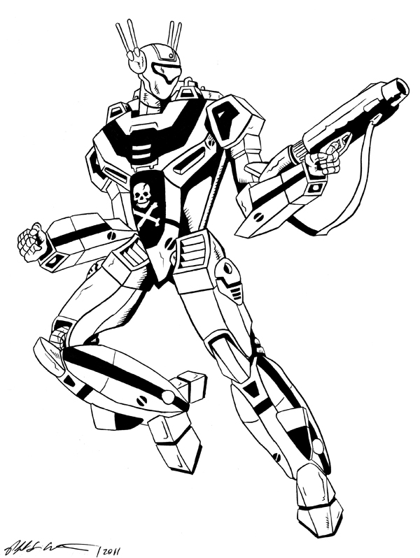 600x798 Inking Of Skull One Veritech Fighter From Robotech