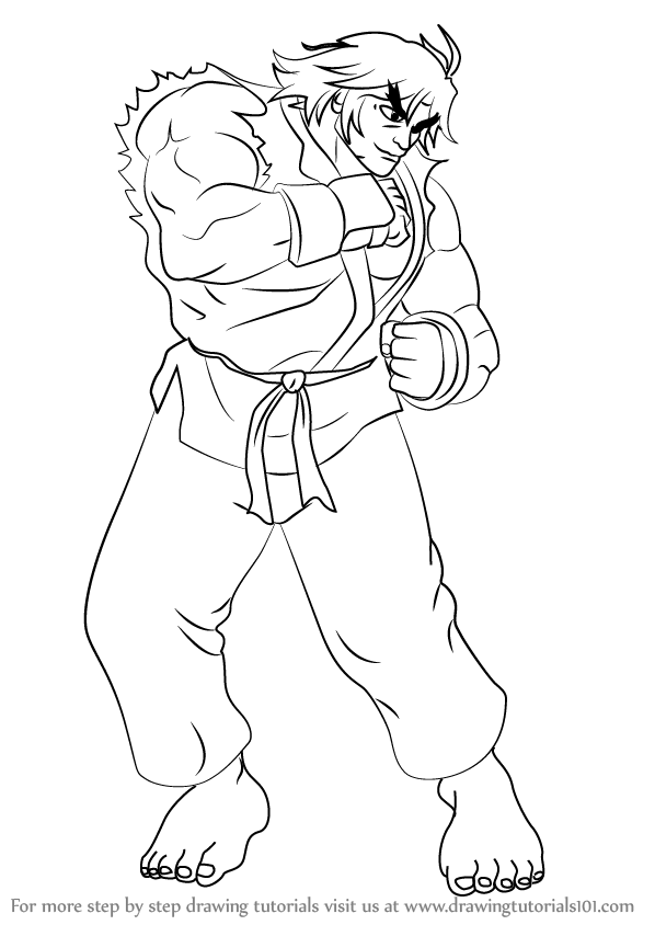 598x844 Learn How To Draw Ken From Street Fighter (Street Fighter) Step By