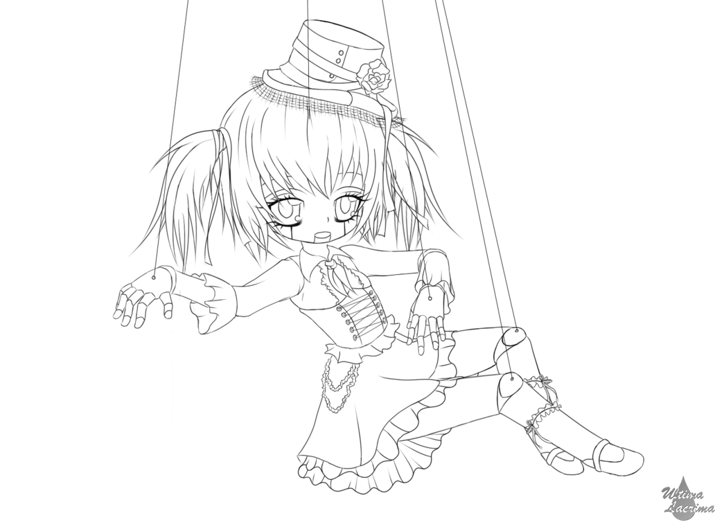 1045x764 Creepy Doll Lineart By Cheetah1990