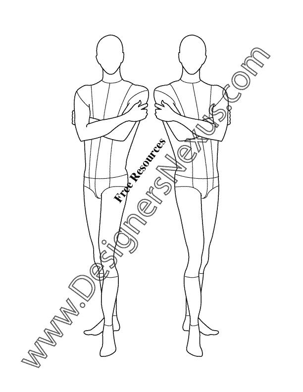 612x792 Male Fashion Croqui Template V17 Mens Three Quarter View Pose