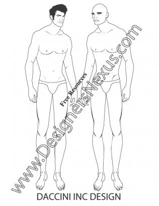 316x409 V20 Mens Fashion Croquis Figure Front View Pose