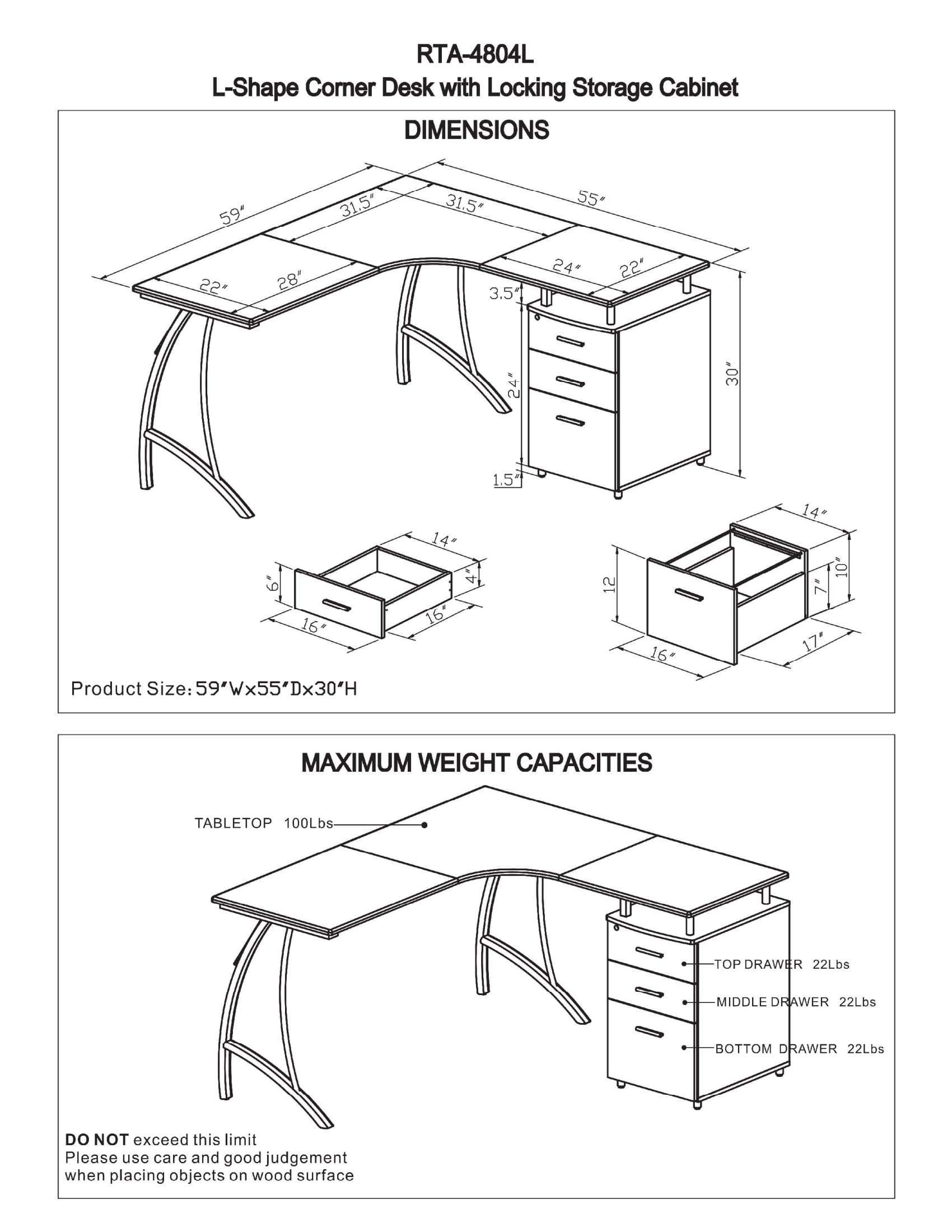 1700x2200 Modern L Shaped Computer Desk With File Cabinet And Storage
