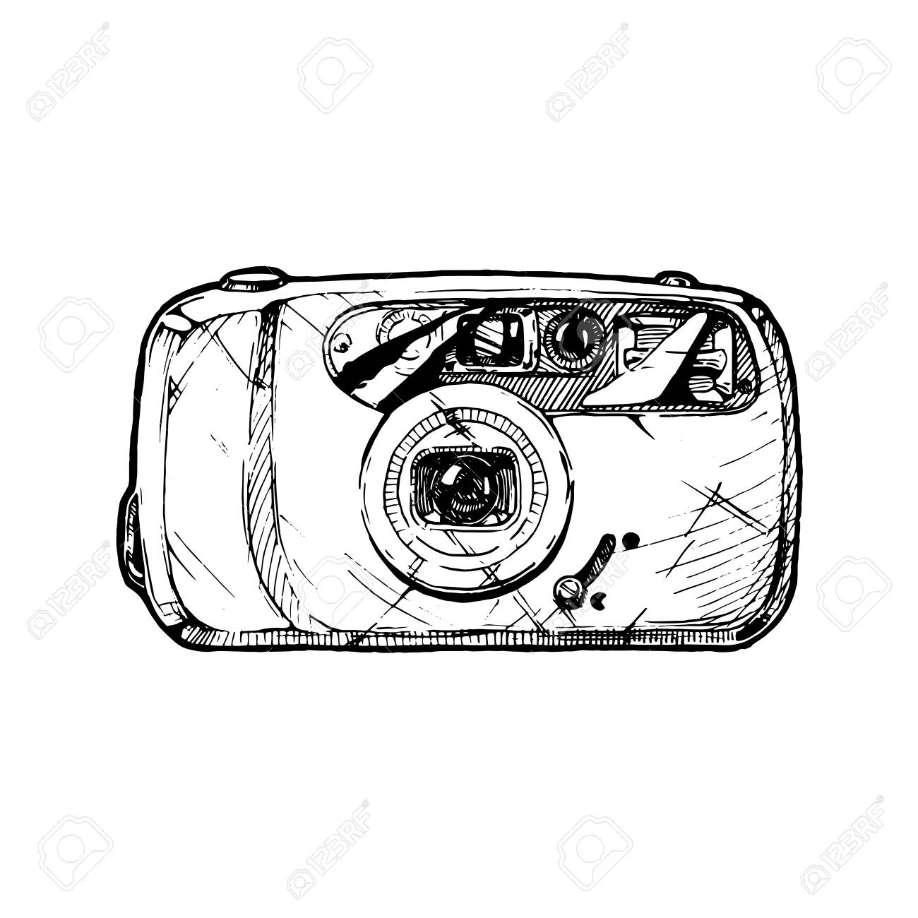 1300x1300 Film Point And Shoot Camera With Built In Flash. Vector Hand Drawn