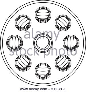 300x320 Drawing Of A Movie Camera And Film Stock Photo 31461250